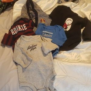 Lot of 5 long sleeve Sz 3m Carter's onesies.